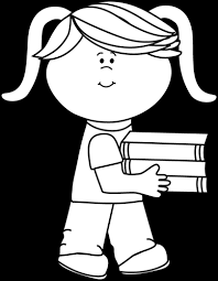 black and white black and white little carrying a stack of books