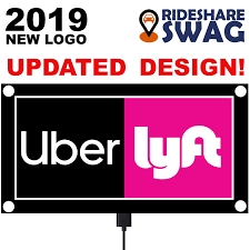 Uber Lyft Light Up Sign Rideshare Swag Uber Lyft Sign Bright Led Light Logo Decal High Visibility Removable Rideshare Driver Uber Lyft Car Light Up Sign Usb With Strong