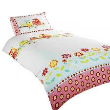owls childrens girls single duvet cover bedding set