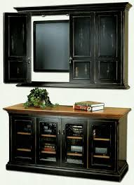 furniture black wooden floating tv cabinet with doors and on the white wall plus interior glass