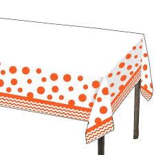 ples orange plastic tablecloth vinyl round
