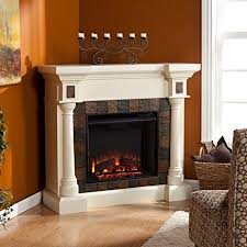 Faux Slate Convertible Corner or Flat Wall Electric Fireplace - Ivory