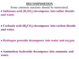 ammonium carbonate decomposes into ammonia water and carbon dioxide decomposition reactions 9 some