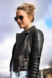 zara leather jacket rayban sunglasses