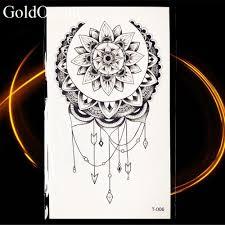 маленькая хна мандала цветок временные татуировки Sun Moon Body Arm грудь Art черные