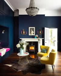 navy blue wall painting designs for living room
