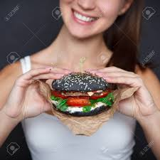 Fast Food Nail Designs Close Up Black Burger In The Woman Hands Nail Design Concept
