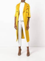 victoria beckham short sleeve tie coat yellow women clothing double ted peacoats coats victoria