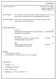 Resume For Freshers Bsc Computer Science M Phil Computer Science Resume Format and Sample