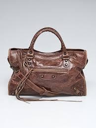 balenciaga marron chevre leather motorcycle city bag