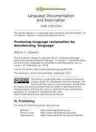 PDF) Producing language reclamation by decolonising 'language'