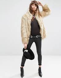 jacket in vintage style faux fur available here