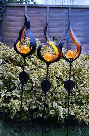 Orange Garden Lights Solar Powered Metal Stake Led Garden Light Outdoor Flame