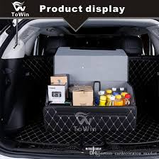 practical foldable storage box cars interior accessories save space car trunk organizer black white line black red line brown white line diy back seat