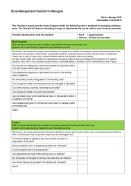 Workplace Stress Management Stress Management Checklist For Managers