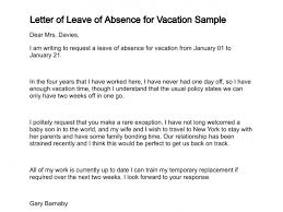 Letter Format For Vacation Leave Letter Of Request For Vacation Leave Sample Templates