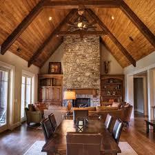 White room w/ cedar ceiling.