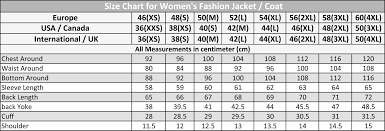Womens Blazer Size Chart Size Guide