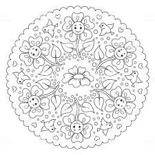 Kleurplaat Mandala Voor Kinderen Met Bloemen En Vogels Vector