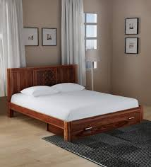 king size bed with storage drawers. Contemporary Bed Florito Solid Wood King Size Bed With Front Drawer Storage In Provincial  Teak Finish By Woodsworth Intended Drawers