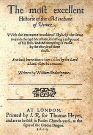 the merchant of venice  title page of the first quarto for the merchant of venice 1600