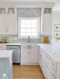 Installing A Paper Faced Mosaic Tile Backsplash Coastal Mosaics Classy Coastal Kitchen Ideas