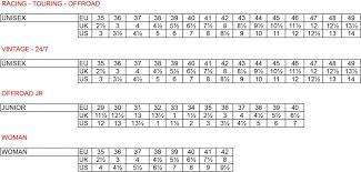 Tcx Boots Size Chart Size Chart Tcx Boots