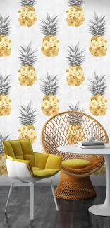 screen background image handy living: yellow flower filled pineapple pattern wallpaper