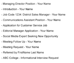 Best Ideas Of Cover Letter Email Subject Line Examples Formatting