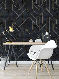 Peel and Stick Wallpaper Geometric Gold ...