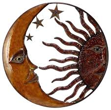 metal sun art woodland imports metal sun moon wall decor with antique brown look