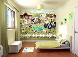 themed kids room designs cool yellow: kids floor beds awesome farmer theme wallpaper kids bedroom design with drum shape light yellow paper