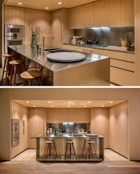 Make Stainless Steel Countertop Oak Cabinets And Satin Finish Stainless Steel Make Up This Modern