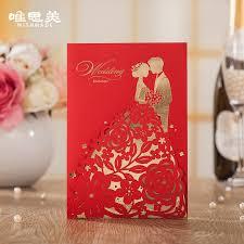 Wishmade 12pcs Lot Red Groom Bride Design Wedding Invitations