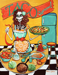 Funky Kitchen Kitchen Catrina Art Print Mexican Food Poster Pinup Skeleton Art