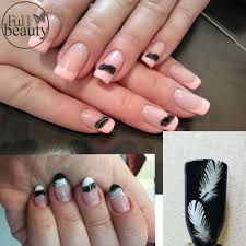 1 sheets NEW 2017 Water Decals Nail Art Sexy Black White Feathers ...