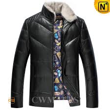 leather jacket with down filled