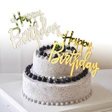 Jual Acrylic Mirror Happy Birthday Gold Silver Birthday Cake