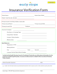 Template For Insurance Information In Planner Blank