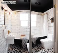... Fascinating Classic Tile Pattern Flooring For Interior Decoration :  Adorable Black And White Bathroom Decoration Using ...