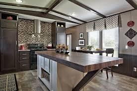 contemporary kitchen with custom wood countertop island mosaic tile backsplash and dark cabinets