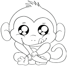 Cute Monkey Coloring Pages Free Baby A Colouring
