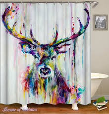 colorful shower curtains. Delighful Curtains Art Colorful Shower Curtains  Colorful Deer Painting With Shower Curtains U