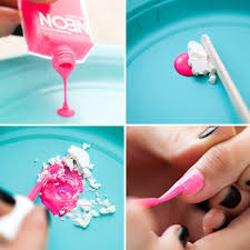 for the pink option we did a matte nail with a shiny tip first paint a top coat on your nails then pour polish onto a paper plate and mix in the