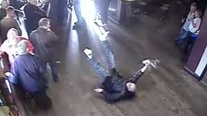 hilarious cctv shows punter fall to pub floor like famous del boy scene