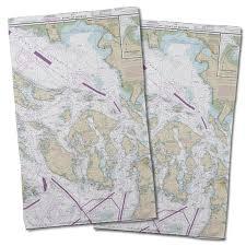 Nautical Charts San Juan Islands Wa Wa San Juan Islands Wa Nautical Chart Hand Towel Set Of 2