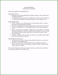 Substitute Teacher Job Description For Resume Beautiful