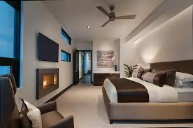 Portable Electric Fireplace Bedroom  Contemporary With Armchair Ceiling Fan Recessed Lighting Upholstered Bed Windows