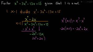 How To Factor A Cubic Factoring A Cubic Polynomial Long Division Youtube