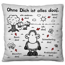 Sheepworld Kissen Ohne Dich Alles Doof Plüsch 25x25cm Kuschelkissen